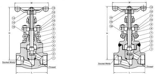 j61y锻钢承插焊截止阀