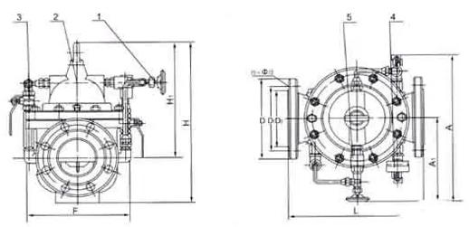 300x缓闭止回阀 外形结构图 (1,针阀2,主阀3,球阀4,压力表5,单向阀)