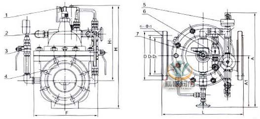 700x水泵控制阀 外形结构图(1,电器控制开关2,针阀3,球阀4,主阀5,压力